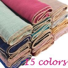 Za, хлопковый шарф с цепочкой, простой хиджаб с цепочкой, мусульманский хиджаб, шали и шарфы, шали и обертывания, глушитель, накидка, головной шарф