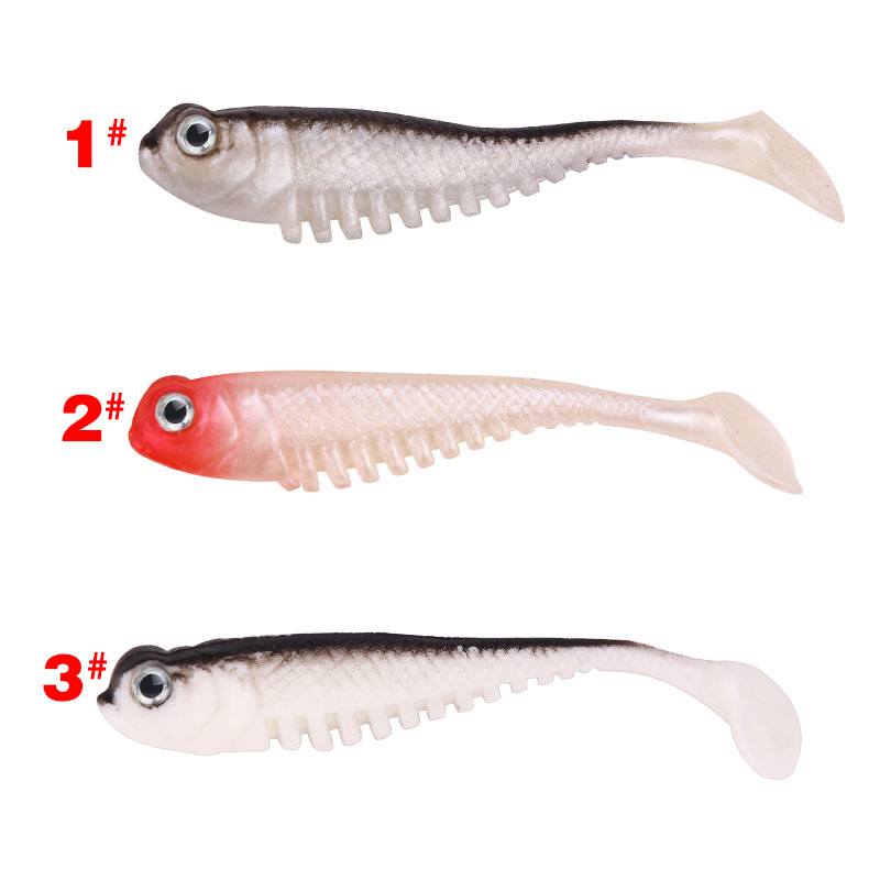 10pcs/package Creative Fishing Bait T-Tail Soft 3D Tail 8cm / 2.7g Multi-Color Optional Road Asian Simulation Free Shipping