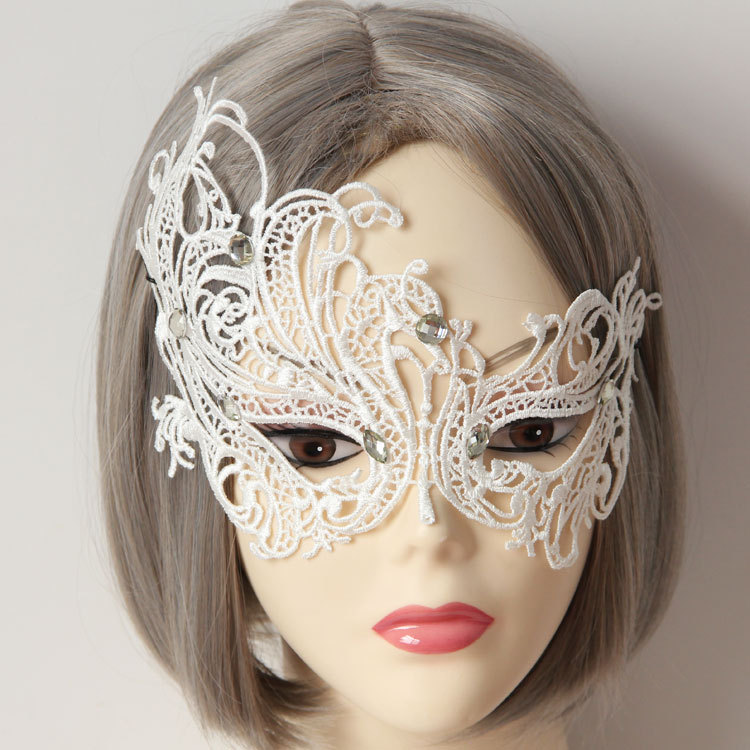 Masquerade white lace princess half face mask blindages halloween sexy accessories in Party Masks from Home Garden