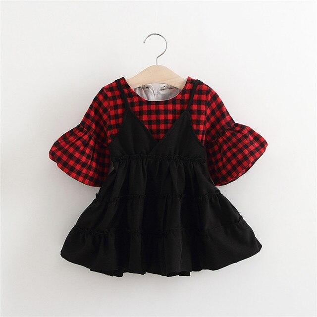 2017 новая Коллекция Весна мода sweet Плед С Длинным Рукавом кукла рукав Поддельные два Слинг платья, принцесса младенцев Dress S4680