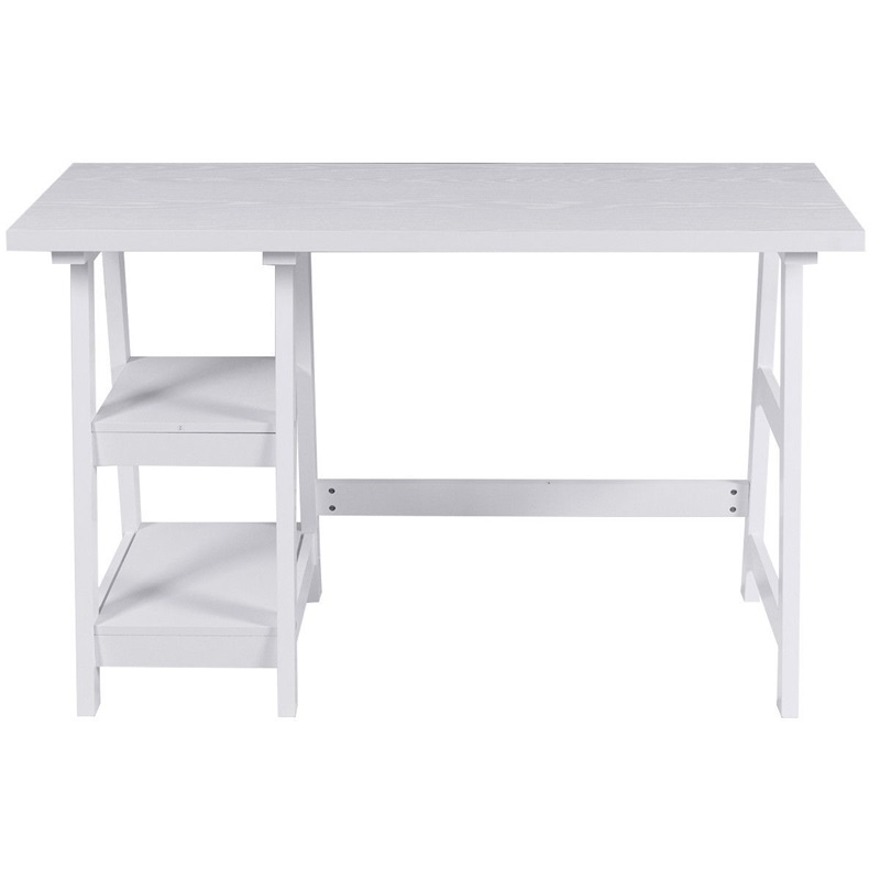Modern White Computer Desk With 2 Open Tiers Shelves Office Writing Desk Workstation Computer Laptop Table Furniture HW59243WH