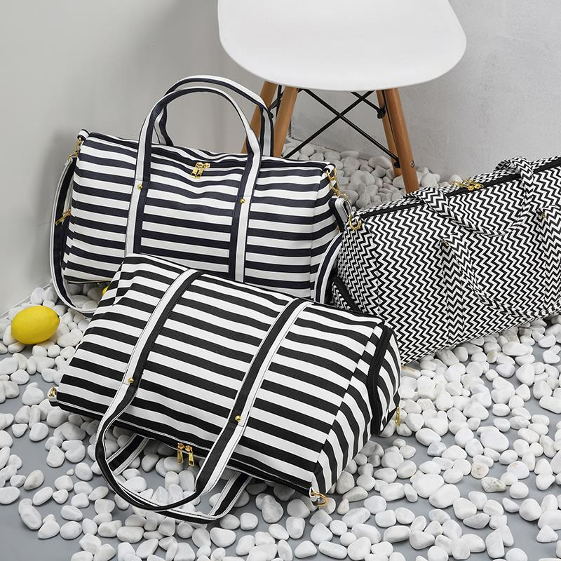 Casual Stripe Wavy Women Handbag With Shoe Pocket Large Capacity Crossbody Bag For Women Man Weekend Travel Bag Tote Sac 2018