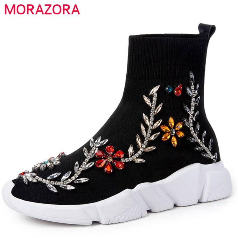 MORAZORA 2018 i più nuovi calzini Stretch stivali rotonde della caviglia della punta per le donne di cristallo autunno stivali comode scarpe basse casuali