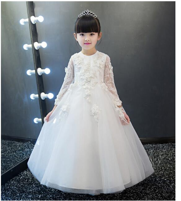 Girls Pageant Long Formal Dresses 2017 Long Sleeve Gauze Ball Gowns Flowers Girls Princess Tutu Dress Kids Party Wedding Dress girls pageant long formal dresses 2017 sleeveless gauze gowns lace flowers girls tutu dress bow kids wedding party dresses 1 9y