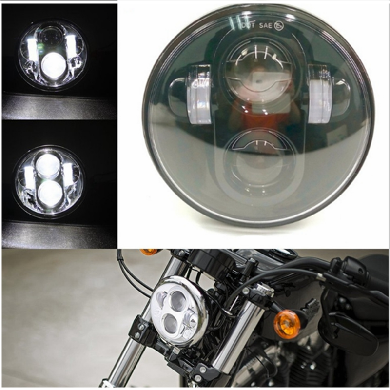 for Harley Projector Moto Lens 100% Fits 5-3/4 5.75 Inch LED Headlights High Low Bulbs For Harley Dyna Motorcycle