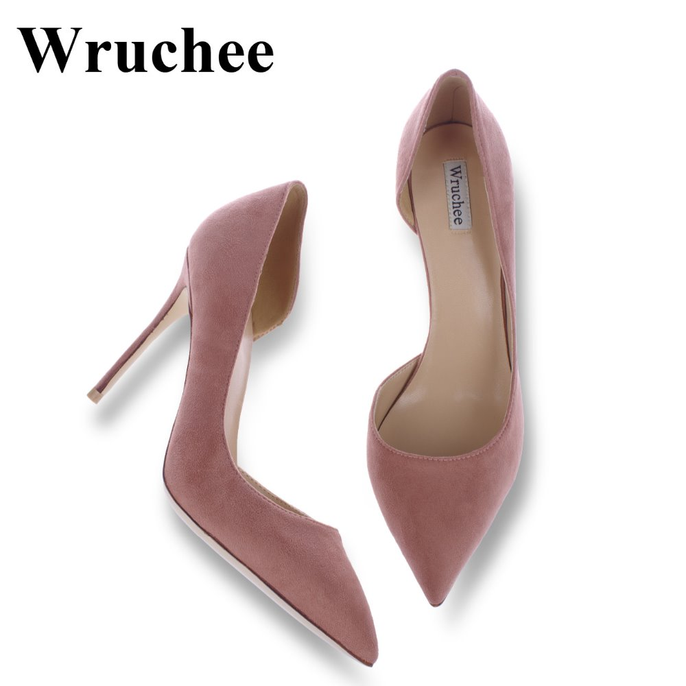 Wruchee party summer woman shoes high heeled thin heels shoes suede 12cm 8cm 10cm cut side single shoes wedding shoes 85mm 33 meters 0 08mm single side high