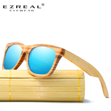 EZREAL Zebra Wood Sunglasses Bamboo Sunglasses Brand Designer Original Polarized Sun Glasses Men Women Oculos De Sol Masculino