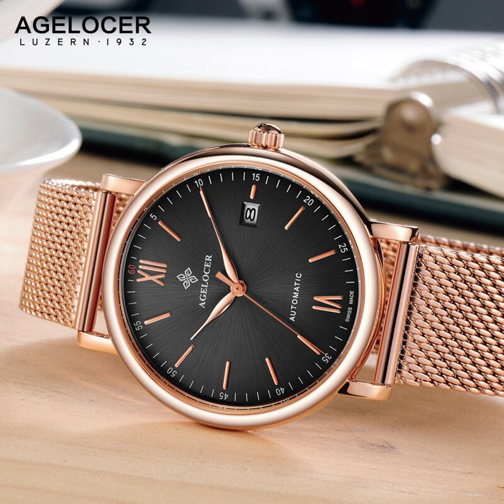 Mens Branded Luxury Fashion Watch Men Automatic Ultra Thin Gold Full Steel Mesh Watches Men Dress Mechanical Watch orologio uomo ultra luxury 2 3 5 modes german motor watch winder white color wooden black pu leater inside automatic watch winder