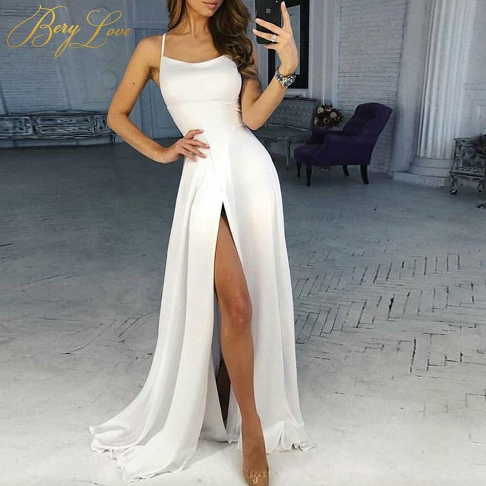 Sheath Wedding Dresses 2019: BeryLove Slim Ivory Wedding Dress 2019 Slit Sheath Robe De