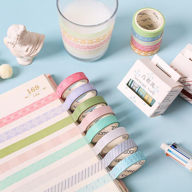 5pcs Basic Geometry Color Paper Washi Tape Set 10mm Lace Stripe Dots Grid Decoration Masking Tape Stickers Gift Scrapbook A6634