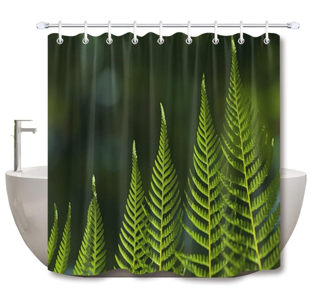 Waterproof Fabric Dark Green Fern Leaves Shower Curtain Liner Bathroom Set Hooks