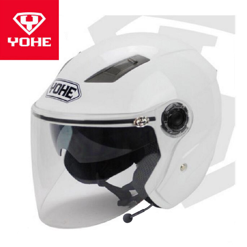2018 Summer New YOHE Half Face Motorcycle Helmets YH837A ABS Double lens Motorbike helmet with Bluetooch and of PC Lens visor 2018 new spring summer yohe full face motorcycle helmet yh970 double lens motorbike helmets made of abs and pc lens visor
