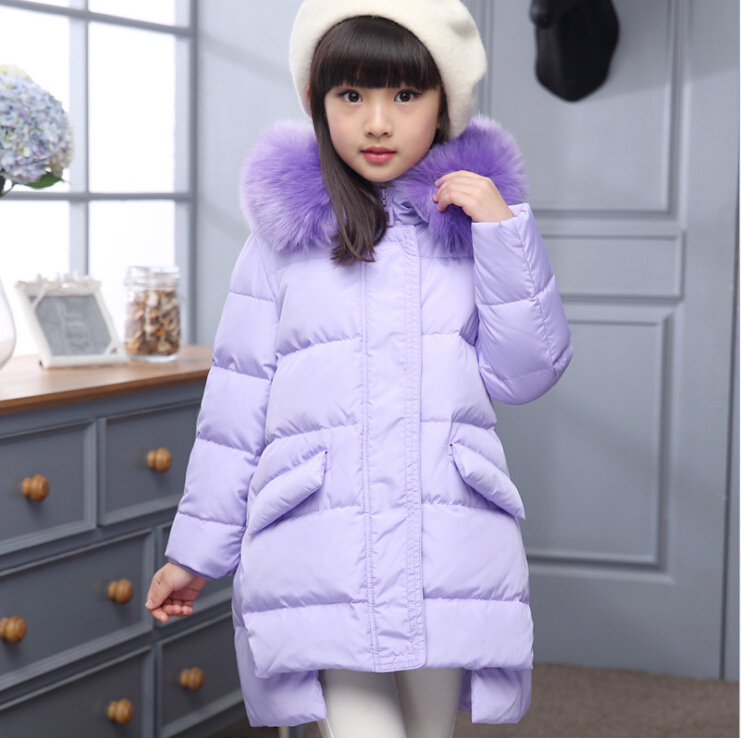 2017 New 4-12Years Children Winter Outerwear Girl Coat Hooded Thick Warm Down Jackets Long Jacket For Teenage Girls Parkas russia winter boys girls down jacket boy girl warm thick duck down