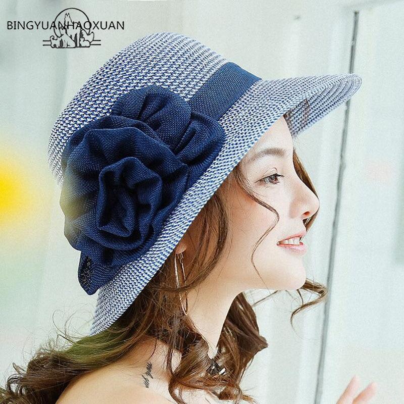 BING YUANHAOXUAN 2018 Sun-shading Hat Female Summer Cotton Flowers Sun Hat Anti-uv Beach Hat Folding Wide Straw Hat