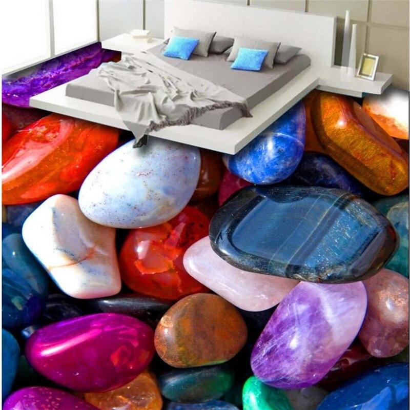 Beibehang 3D coloré pierre de jade pierre galet sol personnalisé grand pvc porter respectueux de l'environnement imperméable à l'eau pour coller