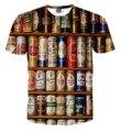 Горячие Мужчины 3D Печати Пива BottleT-рубашка Причинно О-Образным Вырезом Короткие Рукава Clothing для Мужчин Футболку