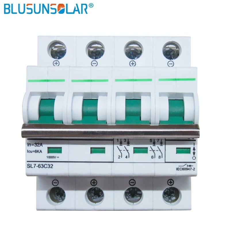 50PCS/Lot 4P 6A 10A 16A 20A 32A 40A 50A 63A 1000V DC Circuit Breaker MCB
