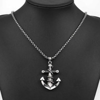 2016 Fashion High Quality 316L Titanium Steel Anchor Charms Pendants Necklace With Chain For Men Jewelry