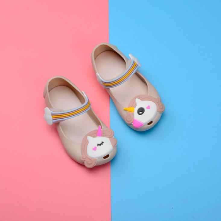 884e3ed25c 2018 Kids jelly sandals baby Rainbow unicorn children girls princess shoes  cute cartoon transparent bling soft beach shoes