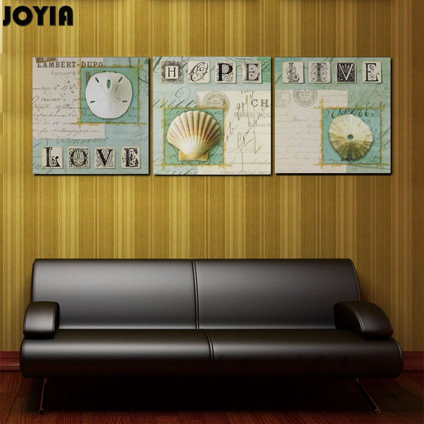 No Framed 3 Piece Writing Words Canvas Wall Art Vintage White ...
