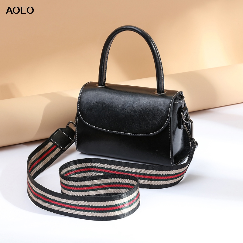 AOEO Wide Stap Handbag Shoulder Bag For Women Split Leather Girl Fashion Messenger Bags Korean Style