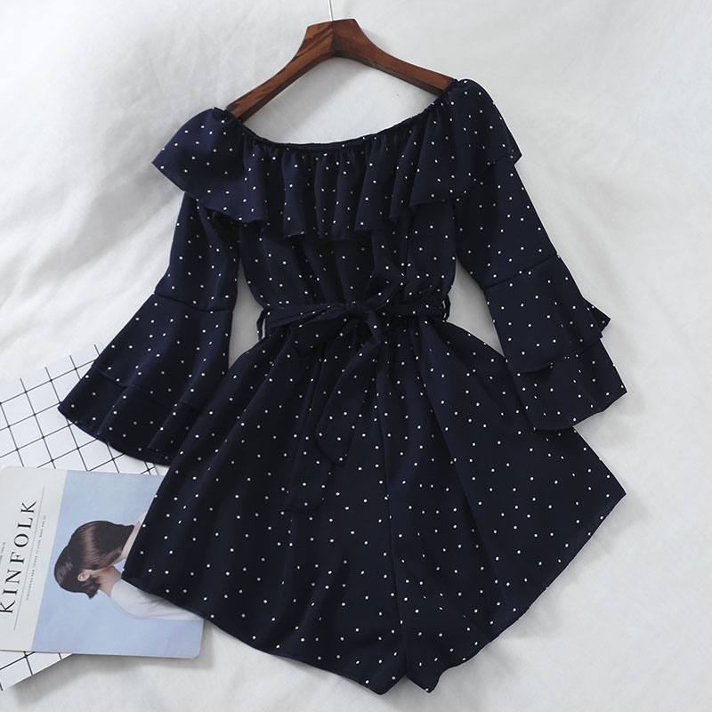 Women Slash Neck Flare Sleeve Polka Dot Rompers Jumpsuits Casual Slim High Waist Lace Up Bandage Ruffles Chiffon Party Playsuits