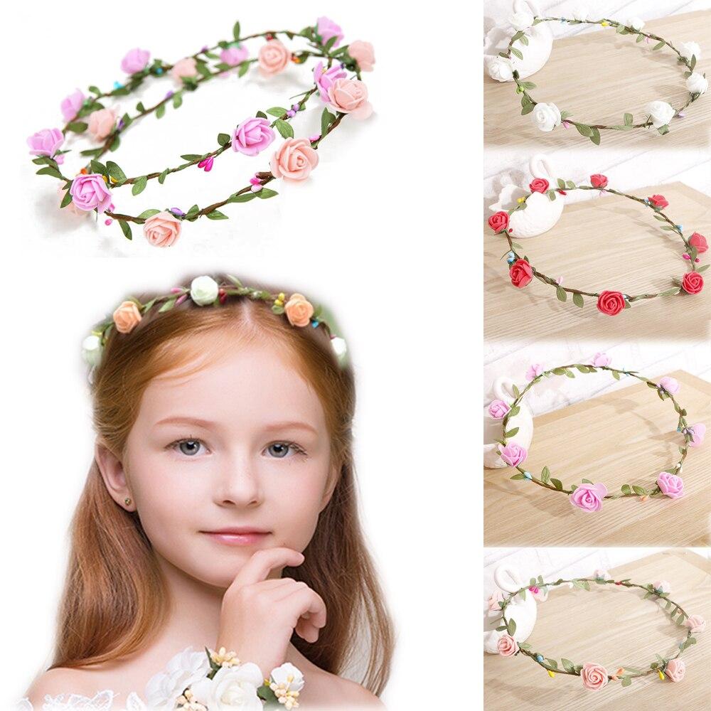 Floral Flower Head Wreath Flower Crown Hair Wreaths Headband For Girls Wedding Party Photography