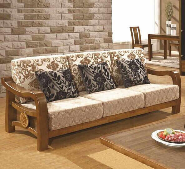 The New U Shaped Sofa Wood Sofa Wood Fabric Combination Sofa Modern
