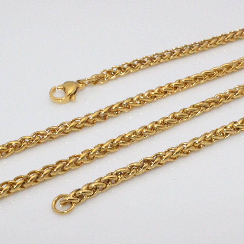 zkd Width 5 mm / 0.12 inch 60 cm chain stainless steel Hip hop necklace for man women good quality yellow color