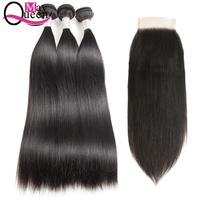 May Queen Peruvian Straight Hair Weave Bundles 3Pcs With Lace Closure Non Remy Hair Human Hair Bundles With Closure Natural Colo