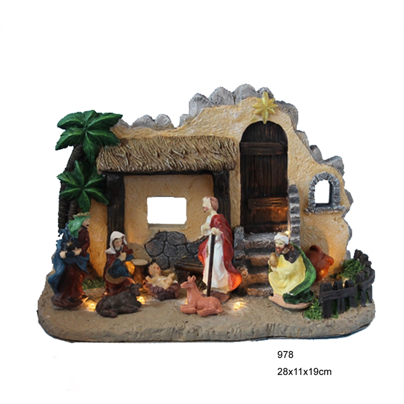Christmas resin nativity house and figurines set ,holy family figurine with led lights, B/O