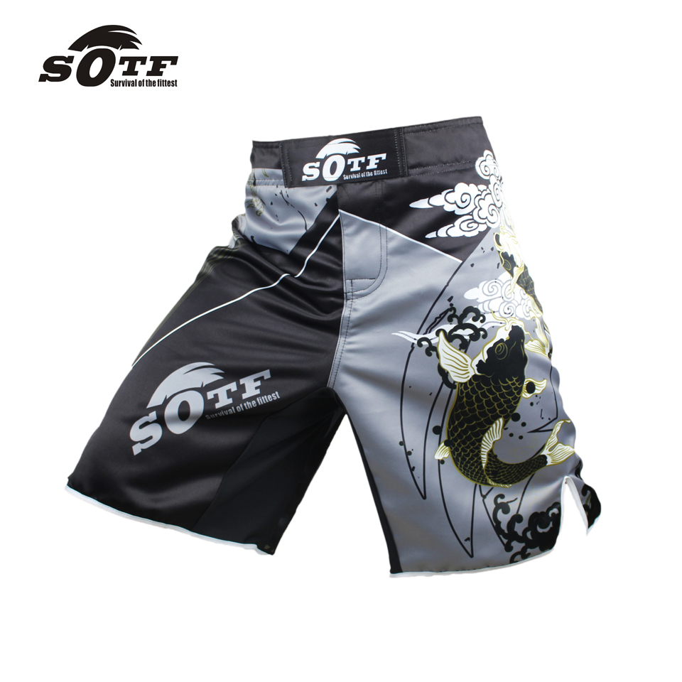 SOTF fitness loose comfortable large size Thai fist fitness shorts mma <font><b>fight</b></font> shorts muay thai clothing kickboxing shorts mma image
