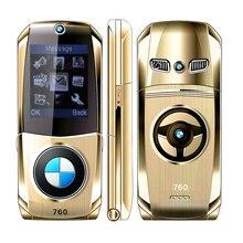 MAFAM 760 flip débloqué Russe Clavier en métal super modèle de voiture conception clé de voiture mini mobile cellulaire téléphone P003