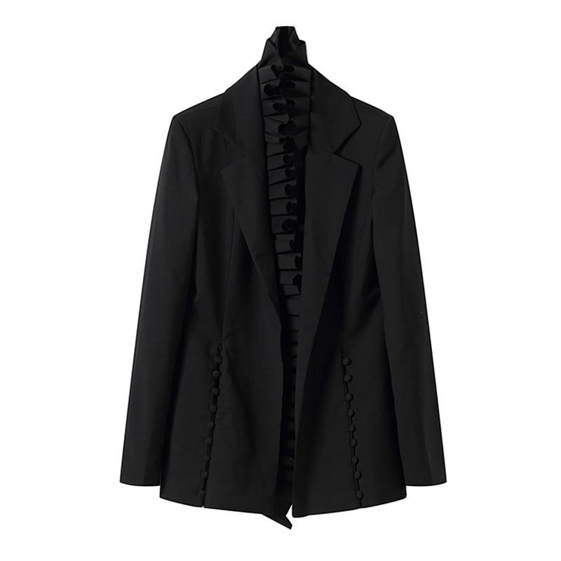 Manches Longues Hiver Luxe Formelle Ruches Manteaux Noir Vestes Vêtements De Femmes Femme À Black 2018 Pardessus Marque Bureau Automne Irrégulière S4xf77