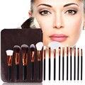 8/12/15 UNIDS bolsa Pounch Conjunto Pincel Maquiagem Pinceles de Maquillaje Colorete En Polvo Fundación Contour brochas de Cepillo Cosméticos maquillaje