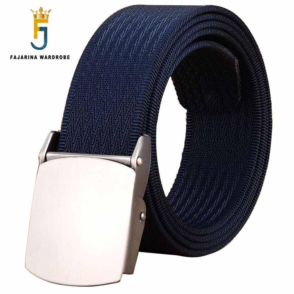 FAJARINA Male Fashion Tactical High Quality Black Nylon Belt Casual Straps Canvas Striped Belts For Men & Women Jeans CBFJ0001