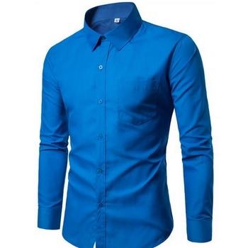 2018 Men Fashion Casual Long Sleeved Printed shirt Slim Fit Male Social Business Dress Shirt Brand Men Clothing G005 3