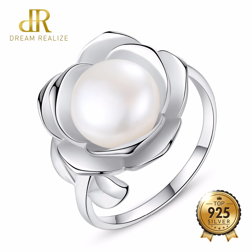 DR Flower Shape 10-15MM White Freshwater Pearl Ring Gift For Women Brand 925 Sterling Silver Bridal Wedding Jewelry RingsDR Flower Shape 10-15MM White Freshwater Pearl Ring Gift For Women Brand 925 Sterling Silver Bridal Wedding Jewelry Rings