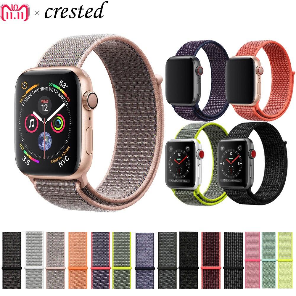 Correa deportiva de nailon CRESTED para Apple Watch band 42mm/38mm 44mm/40mm iWatch 4/3/2/1 pulsera reloj de pulsera Accesorios