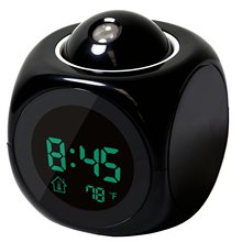 Multi function Digital LCD Voice Talking LED Projection Alarm Clock Black