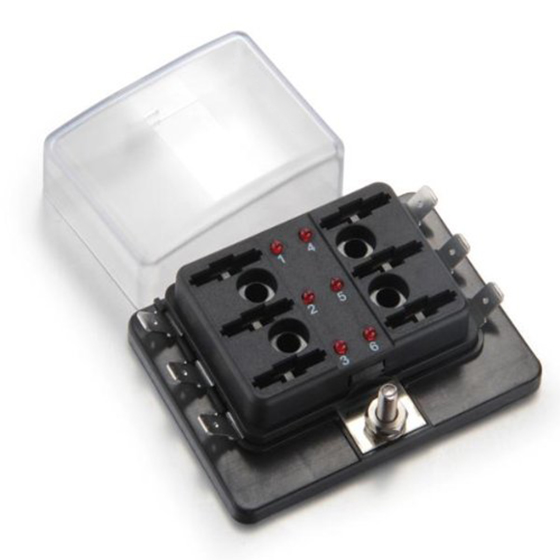 dewtreetali hotsale new top quality 6 way blade fuse box holder positive bus in 12v led warning kit for car boat marine [ 1100 x 1100 Pixel ]