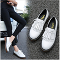 Más el tamaño 34-43 de estilo Británico zapatos oxford de Charol y zapatos planos 2017 sping borla plana zapatos de un solo