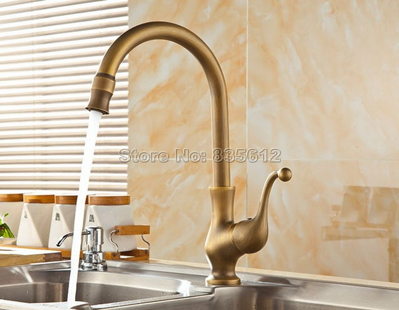 Antique Brass Gooseneck Style Kitchen Sink Faucet 360 Swivel Spout Vessel Sink Mixer tap Deck Mounted Single Hole Wsf110 golden brass kitchen faucet swivel spout vessel sink mixer tap deck mounted