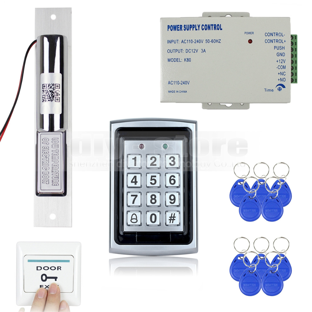 DIYSECUR RFID Metal Case Keypad Door Access Control Security System Kit + Electric Bolt Lock + Power Supply 7612 diysecur 125khz rfid metal case keypad door access control security system kit electric strike lock power supply 7612