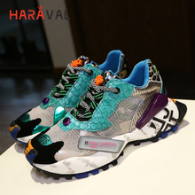 HARAVAL Street fashion thick bottom women sneakers cool trend cross strap letters breathable mesh shoes  N83