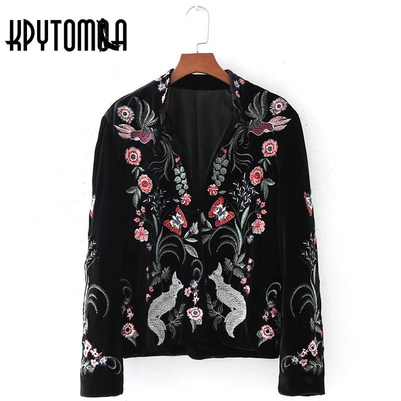 Vintage Ethnic Floral Animal Embroidered Velvet Jacket Women Coat 2018 New Fashion Autumn Cardigan Outerwear Casual Femme Coat