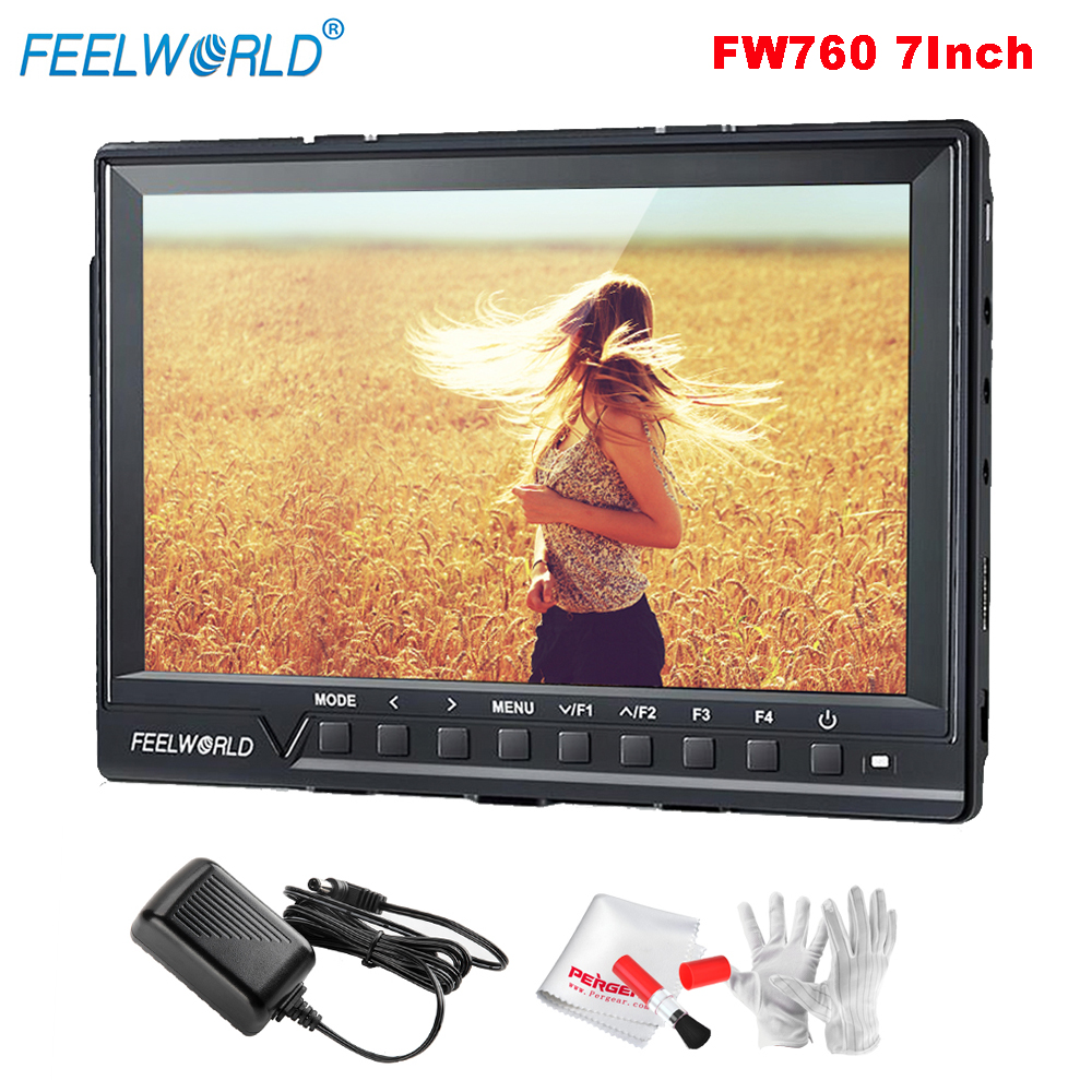 Feelworld FW760 Full HD 1920x1200 7 inch Camera Video IPS Filed Monitor HDMI Peaking Focus Assist 1200:1 Contrast+Power Adapter