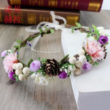 Headdress Wedding Hair Accessories Woman bride Flower Headband Party Fabric hair Wreath Bridal Hairbands