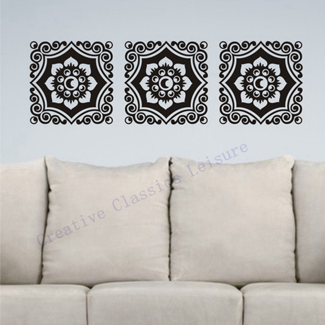 Free Shipping Floral Damask Wall Decal Motif Trio, Vinyl Graphic Damask Wall  Art Sticker Home