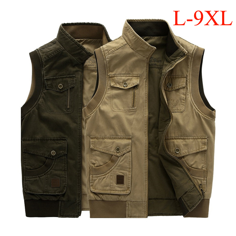 цена на Plus size L-9XL tactical military vest men both side wear cotton multi-pockets hiking hunting vest Spring Autumn waistcoat colet